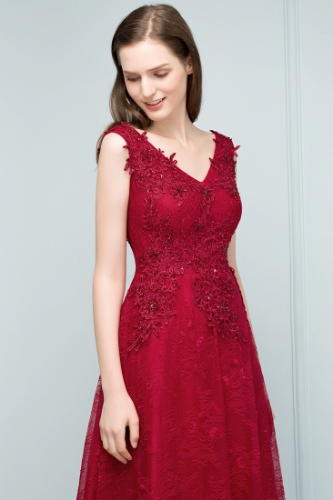 Burgundy V-Neck Lace Prom Dress Long Evening Party Gowns With Appliques_8