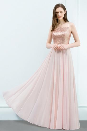 BMbridal A-line Floor Length Spaghetti Sequined Top Chiffon Prom Dress_4