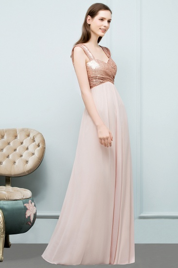 BMbridal A-line Sweetheart Off-shoulder Spaghetti Long Sequins Chiffon Prom Dress_6