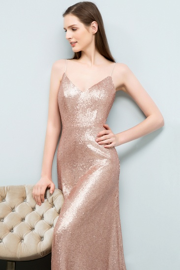 Chic V-Neck Spaghetti-Straps Sequined Long Bridesmaid Dresses Cheap_4