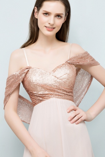 BMbridal A-line Sweetheart Off-shoulder Spaghetti Long Sequins Chiffon Prom Dress_4