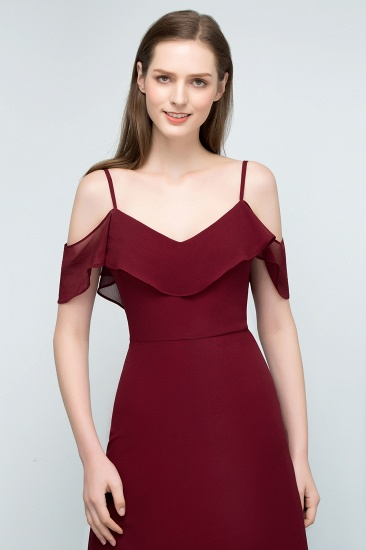 BMbridal Affordable A-line Chiffon Off-the-Shoulder V-neck Long Bridesmaid Dress In Stock_11