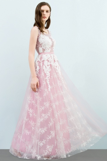 Elegant Pink Sleeveless Prom Dress Tulle Long Evening Gowns With Lace Appliques_7