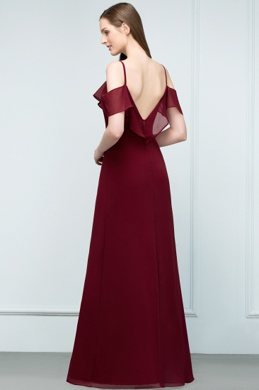 BMbridal Affordable A-line Chiffon Off-the-Shoulder V-neck Long Bridesmaid Dress In Stock_8