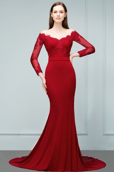 Glamorous Long Sleeve Mermaid Evening Prom Dress With Lace Appliques Online_4