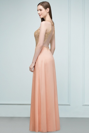BMbridal A-line Floor Length V-neck Sleeveless Appliques Chiffon Prom Dress_7