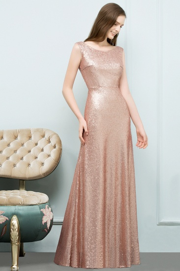 BMbridal Shiny Sequined Scoop Sleeveless Champagne Bridesmaid Dress Online_3