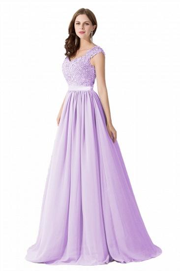 BMbridal A-line V Neck Chiffon Bridesmaid Dress with Appliques_5