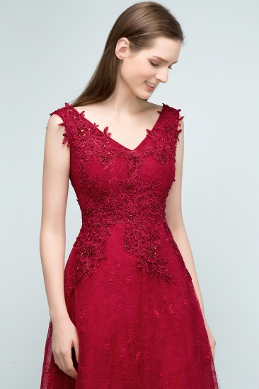 BMbridal Burgundy V-Neck Lace Prom Dress Long Evening Party Gowns With Appliques_6