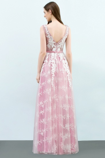 Elegant Pink Sleeveless Prom Dress Tulle Long Evening Gowns With Lace Appliques_3