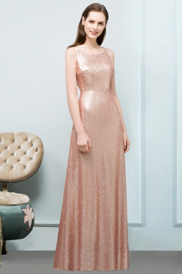 Affordable Pink Sequined Long Bridesmaid Dress With Scoop_1