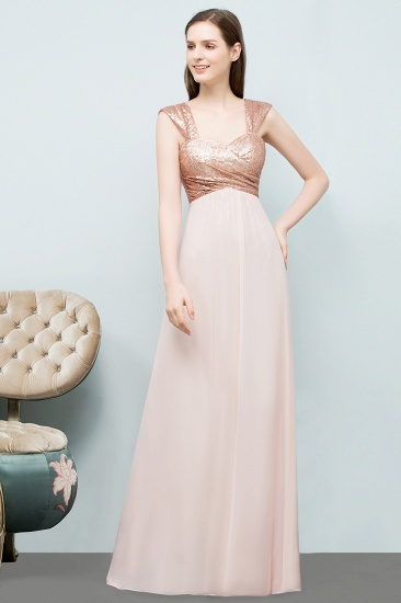 BMbridal A-line Sweetheart Off-shoulder Spaghetti Long Sequins Chiffon Prom Dress_2