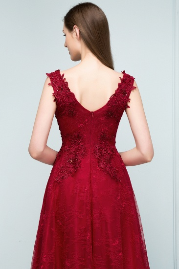 BMbridal Burgundy V-Neck Lace Prom Dress Long Evening Party Gowns With Appliques_4