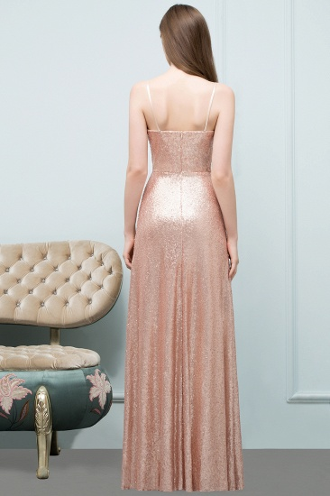Chic V-Neck Spaghetti-Straps Sequined Long Bridesmaid Dresses Cheap_2