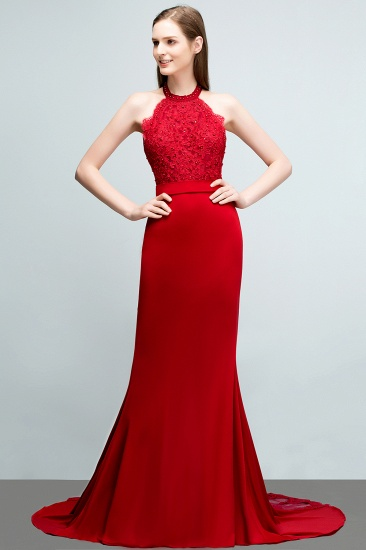 Halter Lace Mermaid Prom Dress Long Backless With Lace Appliques