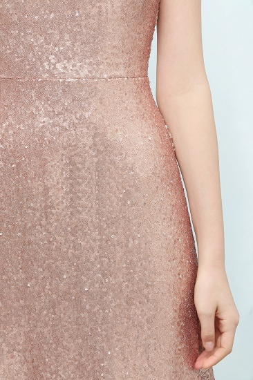 BMbridal Shiny Sequined Scoop Sleeveless Champagne Bridesmaid Dress Online_6