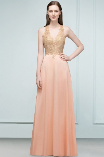 BMbridal A-line Floor Length V-neck Sleeveless Appliques Chiffon Prom Dress_3