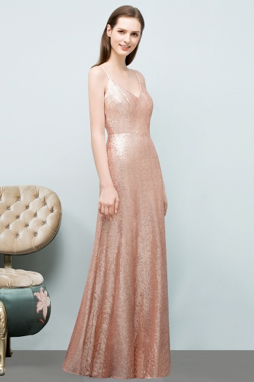 Chic V-Neck Spaghetti-Straps Sequined Long Bridesmaid Dresses Cheap_3