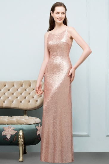 Affordable Pink Sequined Long Bridesmaid Dress With Scoop_4
