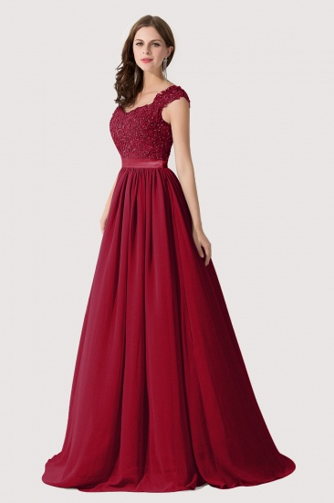 BMbridal A-line V Neck Chiffon Bridesmaid Dress with Appliques_11