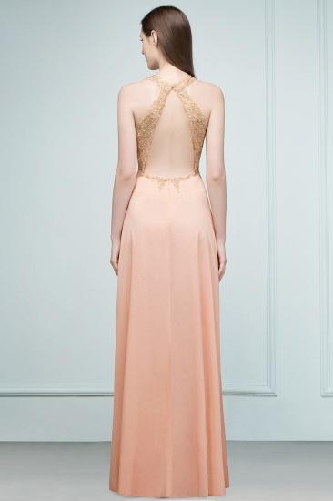 BMbridal A-line Floor Length V-neck Sleeveless Appliques Chiffon Prom Dress_4