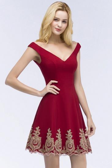 BMbridal A-line V-neck Short Off-shoulder Appliques Burgundy Homecoming Dress Online_7