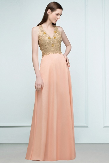 BMbridal A-line Floor Length Spaghetti V-neck Appliqued Chiffon Bridesmaid Dress Online