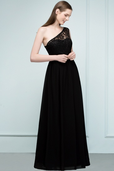 Chic One Shoulder Black Lace Long Bridesmaid Dresses Online In Stock_4