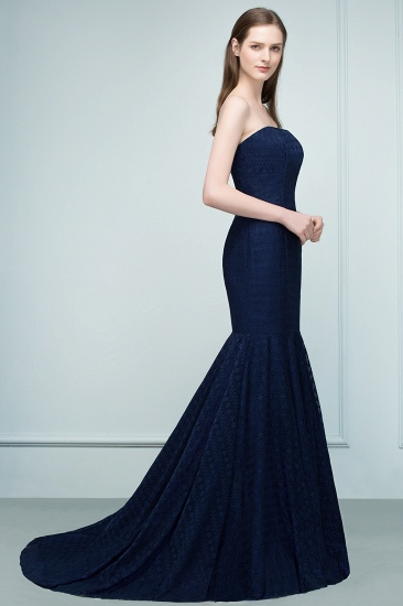 Elegant Navy Strapless Lace Mermaid Evening Prom Dress Long Online_7
