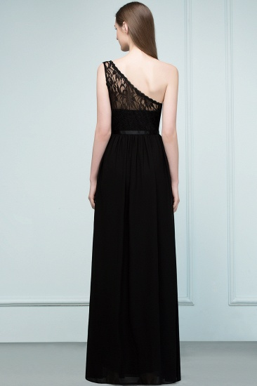 Chic One Shoulder Black Lace Long Bridesmaid Dresses Online In Stock_3