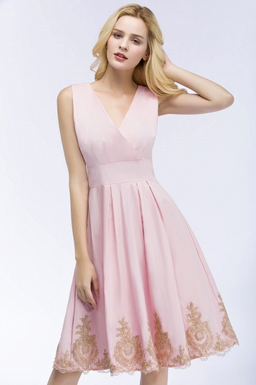 BMbridal A-line V-neck Knee Length Sleeveless Appliques Homecoming Dress Online_6