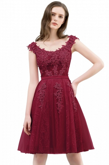 BMbridal Lovely Dusty Pink Short Homecoming Dress With Lace Appliques_2