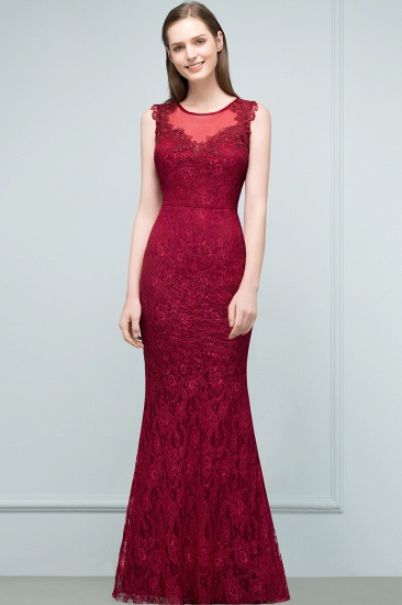 Gorgeous Bugrundy Lace Prom Dress Long Mermaid Evening Gowns Online_7