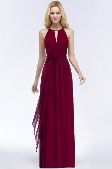 BMbridal A-line Halter Floor Length Burgundy Bridesmaid Dress with Bow Sash_14
