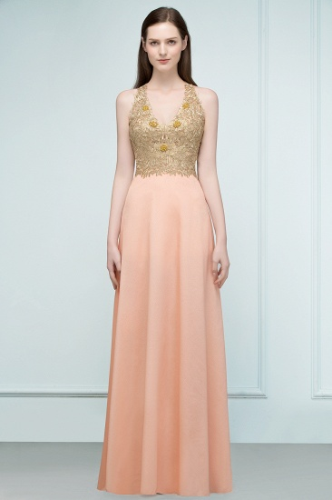 BMbridal A-line Floor Length Spaghetti V-neck Appliqued Chiffon Bridesmaid Dress Online_8