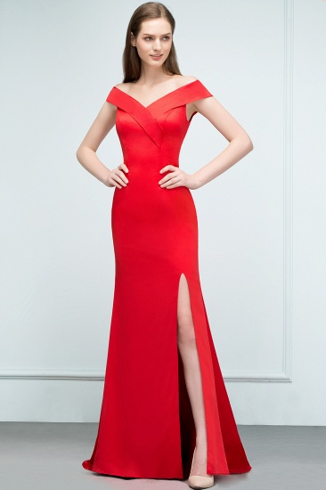 Red Off-the-Shoulder Mermaid Prom Dress Long With Split_4