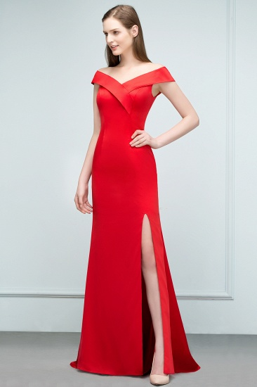Red Off-the-Shoulder Mermaid Prom Dress Long With Split_7