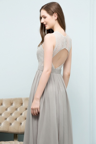 Affordable Lace Sleeveless Silver Bridesmaid Dress with Ruffles_6