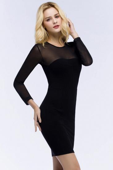 BMbridal Sheath Long Sleeves Sheer Neckline Short Black Homecoming Dress_4