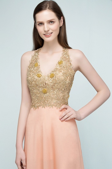 BMbridal A-line Floor Length Spaghetti V-neck Appliqued Chiffon Bridesmaid Dress Online_7