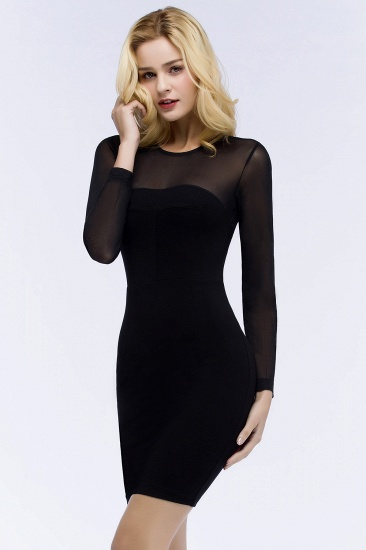 BMbridal Sheath Long Sleeves Sheer Neckline Short Black Homecoming Dress_6