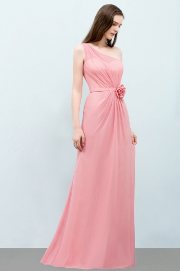 Affordable Mermaid One shoulder Pink Bridesmaid Dresses with Flowers_53