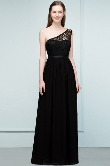Chic One Shoulder Black Lace Long Bridesmaid Dresses Online In Stock_5