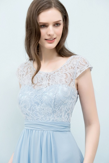 BMbridal Affordable Lace Sleeveless Blue Bridesmaid Dresses With Scoop Cap_5