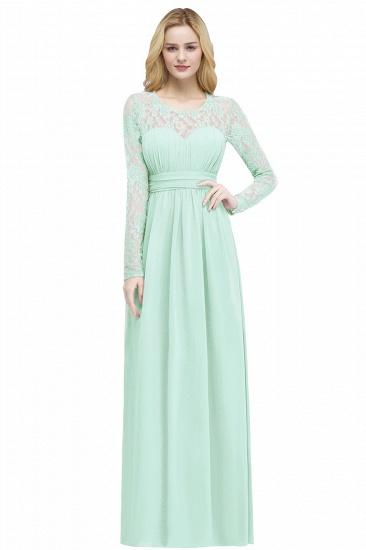 BMbridal A-line Floor Length Long Sleeves Lace Chiffon Bridesmaid Dress_2