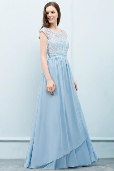 BMbridal A-line Long Cap Sleeves Lace Top Chiffon Bridesmaid Dress_7