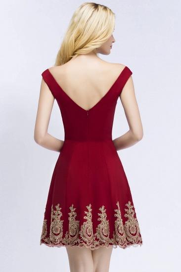 BMbridal A-line V-neck Short Off-shoulder Appliques Burgundy Homecoming Dress Online_3