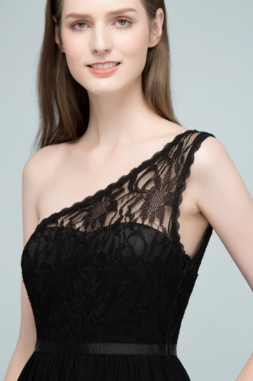 Chic One Shoulder Black Lace Long Bridesmaid Dresses Online In Stock_9