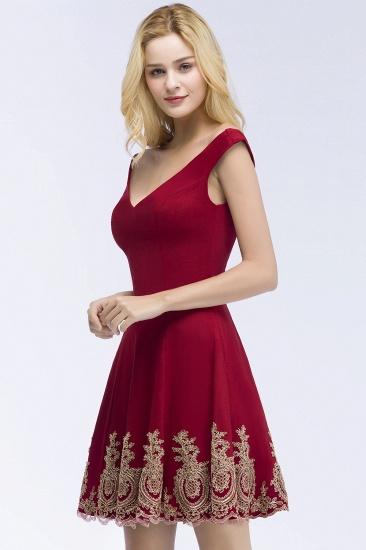 BMbridal A-line V-neck Short Off-shoulder Appliques Burgundy Homecoming Dress Online_4