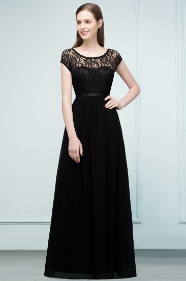 Affordable A-line Short-Sleeves Black Lace Bridesmaid Dress with Sash In Stock_1